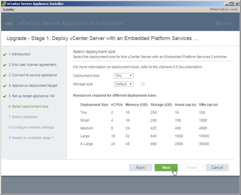 vcsa 6.5 upgrade deployment size