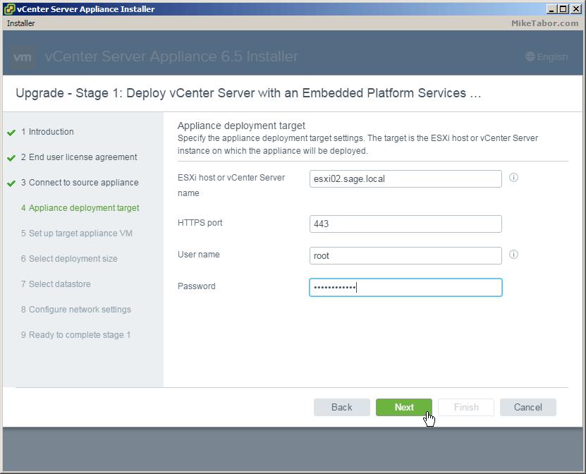 vcsa 6.5 upgrade deployment target