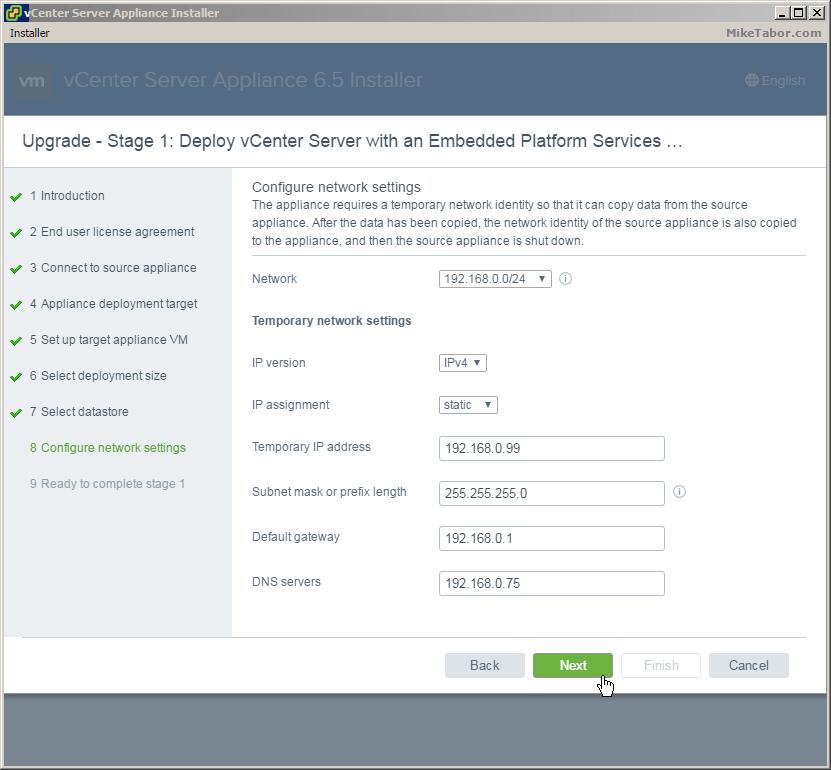 vcsa 6.5 upgrade network