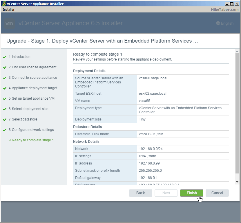 vcsa 6.5 upgrade review