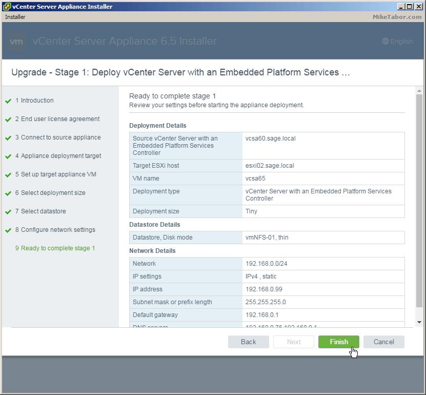 vcsa 6.5 upgrade review