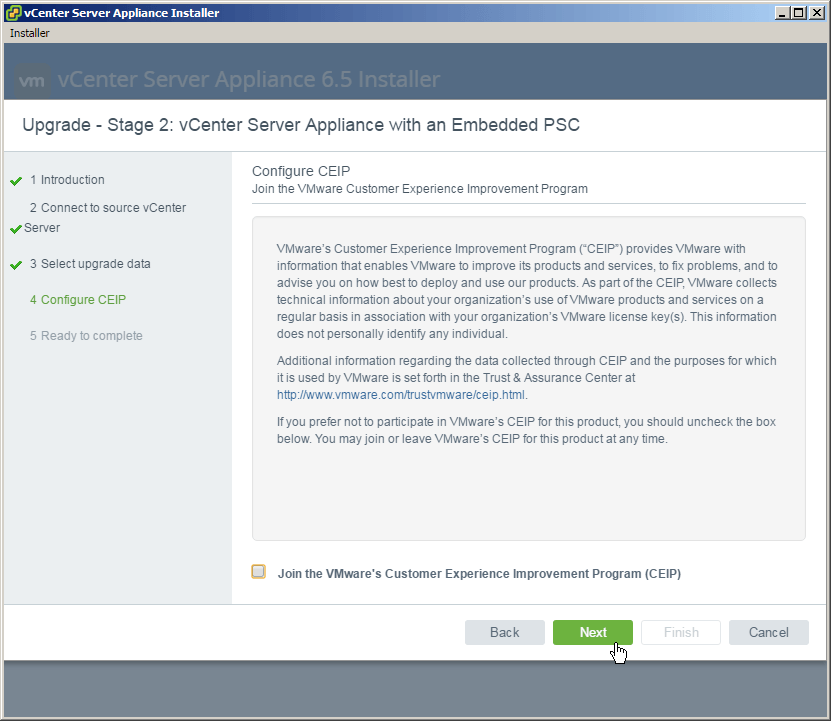 vcsa 6.5 upgrade stage2 ceip