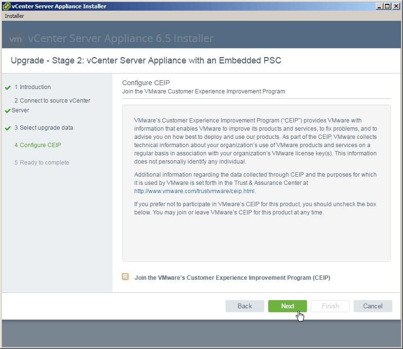 vcsa 6.5 upgrade stage2 ceip