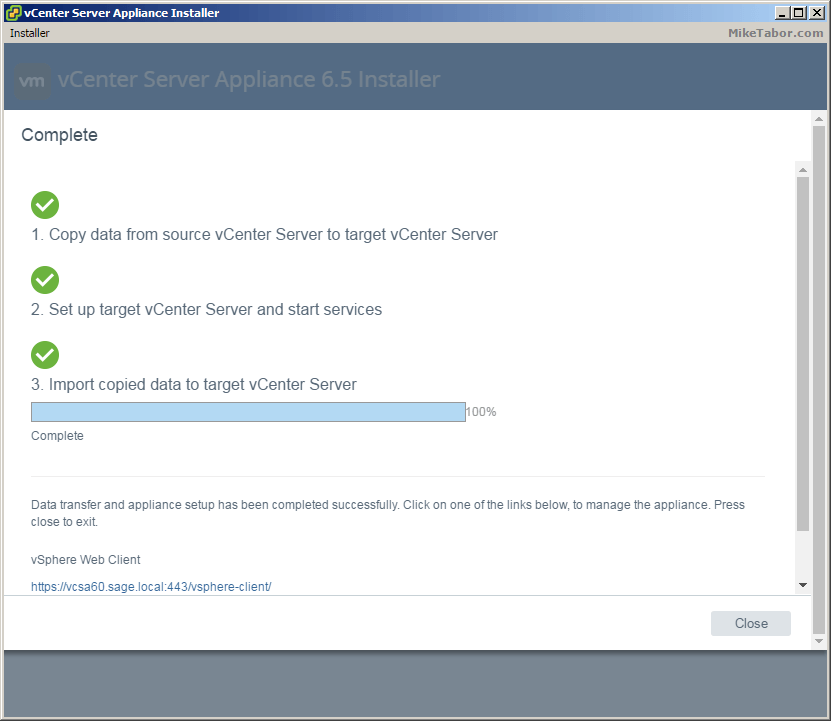 vcsa 6.5 upgrade stage2 completed