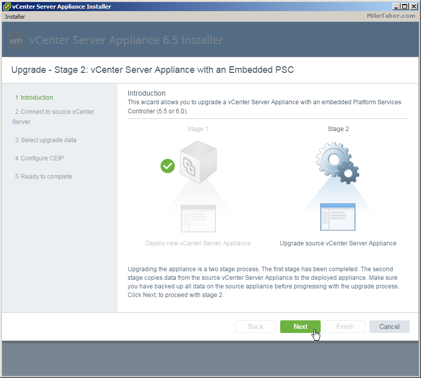 vcsa 6.5 upgrade stage2 intro
