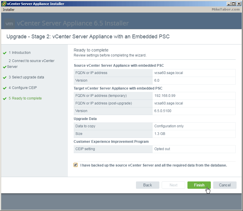 vcsa 6.5 upgrade stage2 ready complete