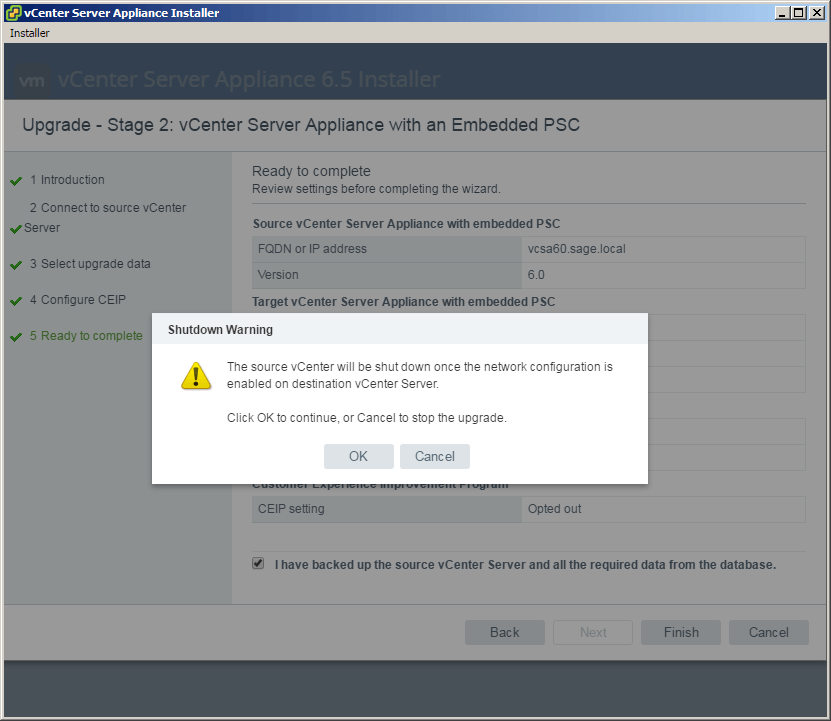 vcsa 6.5 upgrade stage2 source shutdown message