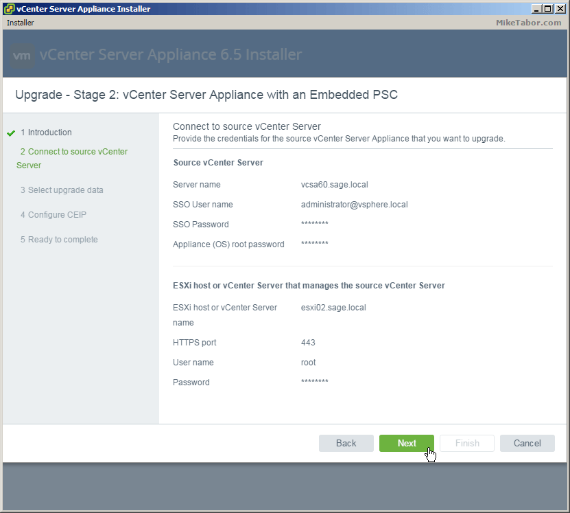 vcsa 6.5 upgrade stage2 source vcenter