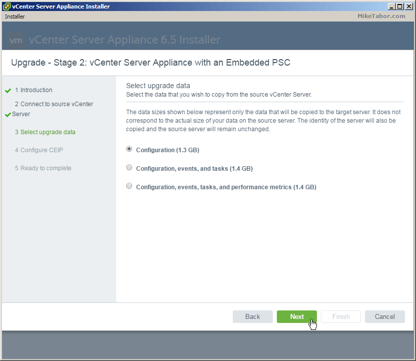 vcsa 6.5 upgrade stage2 upgrade data