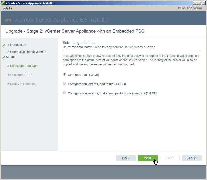 vcsa 6.5 upgrade stage2 upgrade data