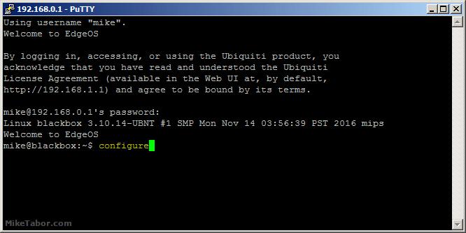 edgerouter ssh key configure