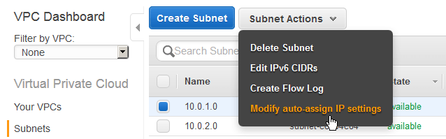 create custom vpc auto assign ip subnet