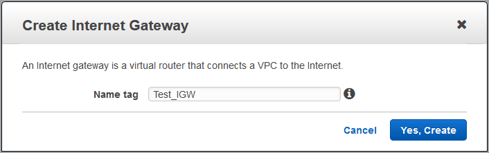create custom vpc create internet gateway name