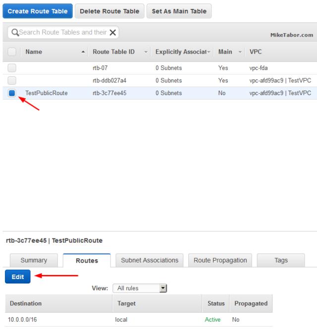 create custom vpc create route table edit