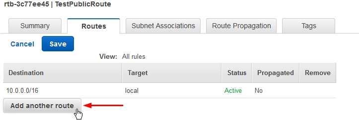 create custom vpc route table add another route