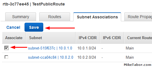 create custom vpc route table subnet associations subnet