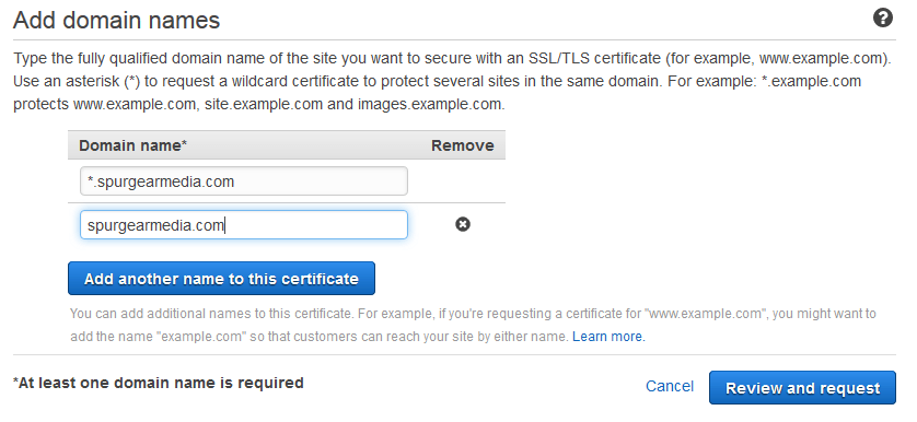 certificate manager add domain