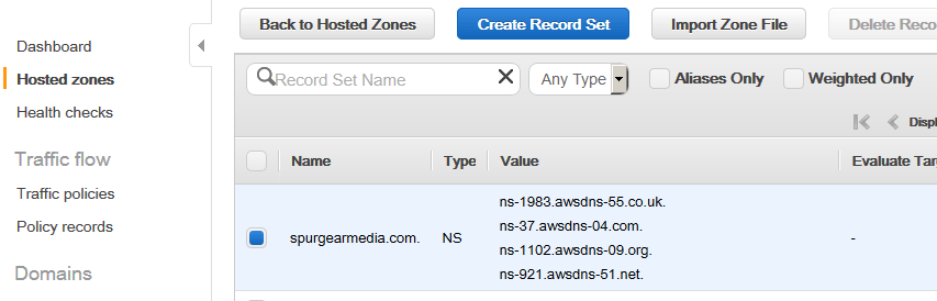 route53 create hosted zone domain nameservers