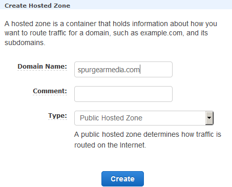 route53 create hosted zone domain