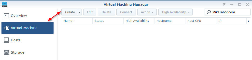 synology create virtual machine
