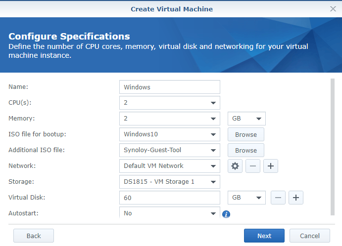 synology create vm configure specs