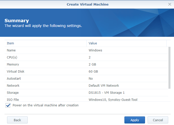 synology create vm summary
