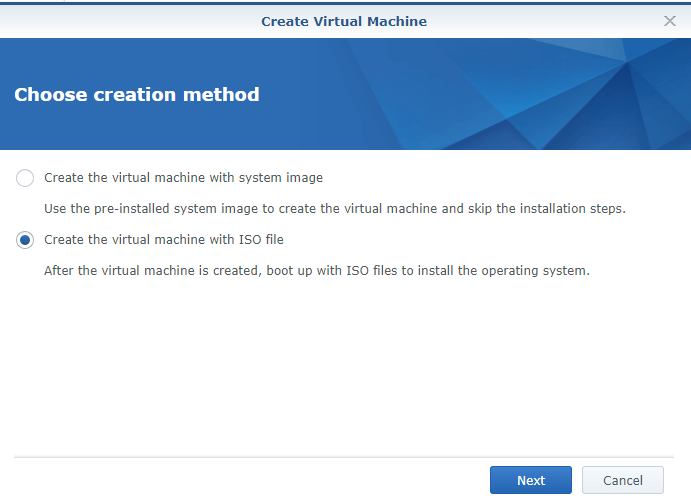 synology create vm with iso