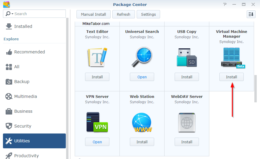 synology install vm manager package
