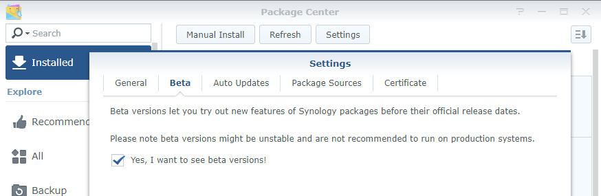 synology package center beta packages