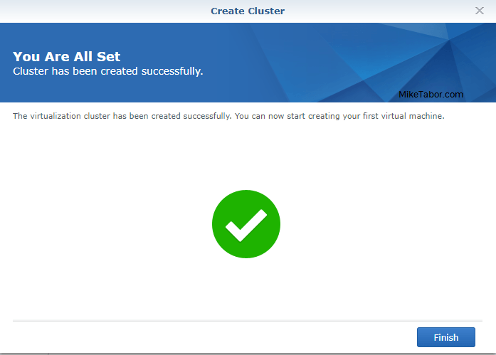 synology virtual machine manager wizard complete