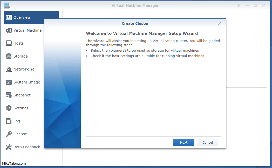 synology virtual machine manager wizard