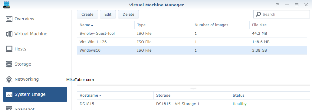 synology virtual machine manager system image finished