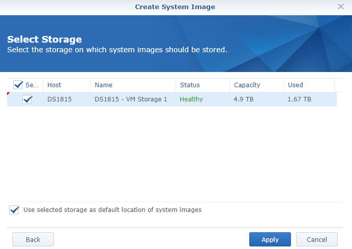 synology vmm create system image location