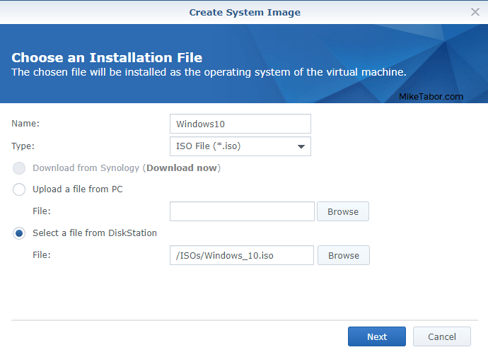 synology vmm create system image windows10