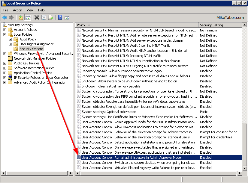 local security policy enabled p2v