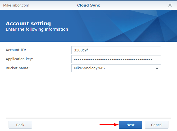 Backblaze on Synology - Account Settings