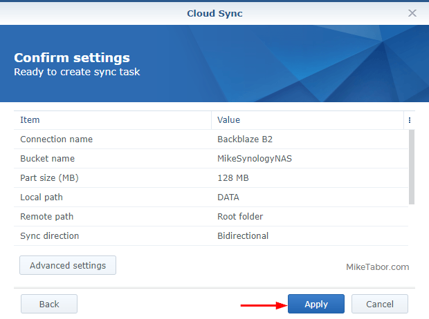 Backblaze on Synology - Confirm settings