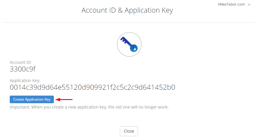 Backblaze on Synology - Create app key