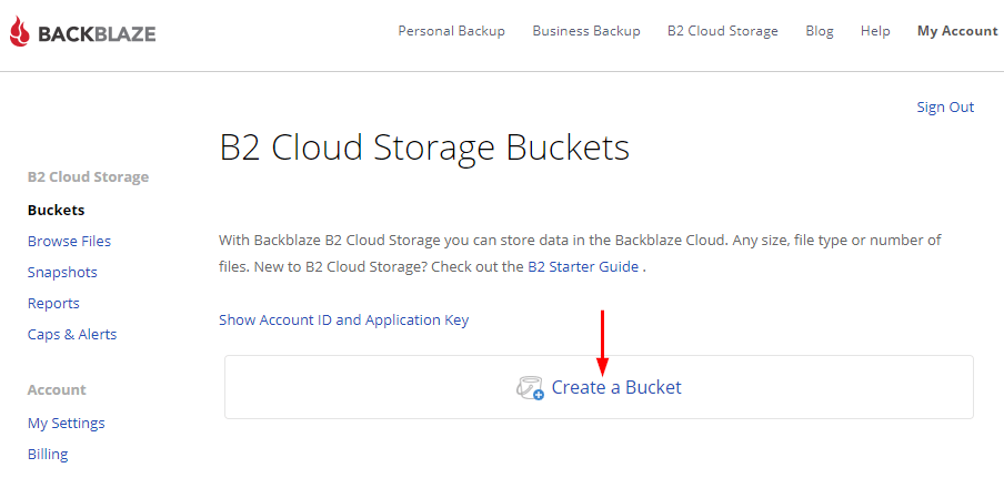 Backblaze on Synology - Create a bucket
