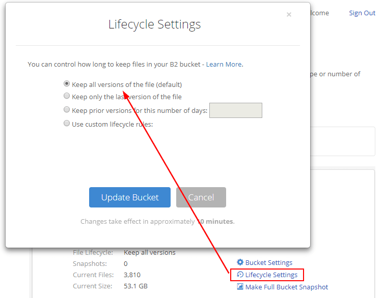 backblaze lifecycle settings