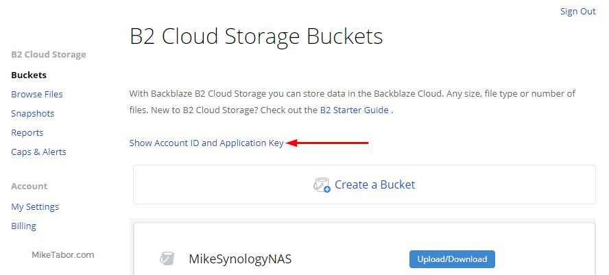 Backblaze on Synology - Show account ID
