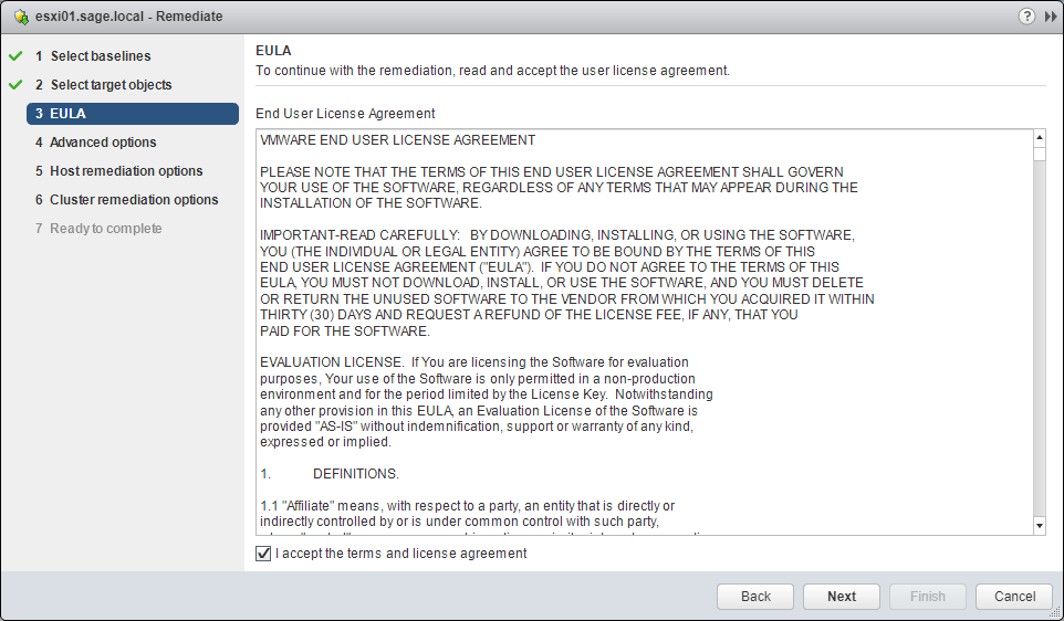 Update Manager accept EULA