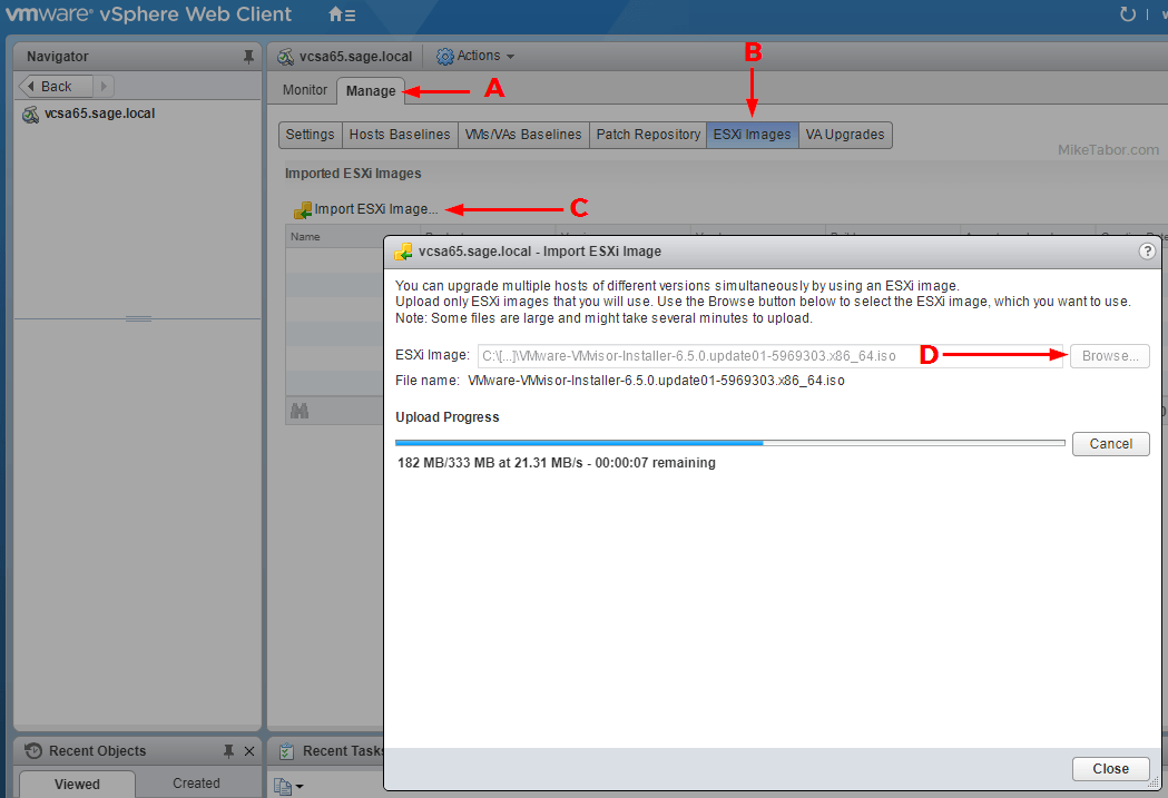 VMware Update Manager import ESXi image