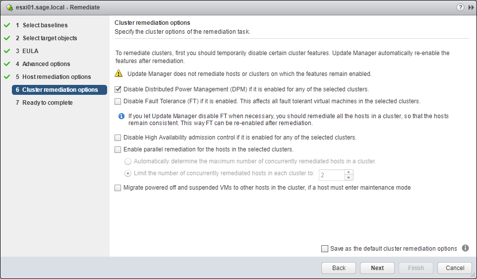 Update Manager set remediation options