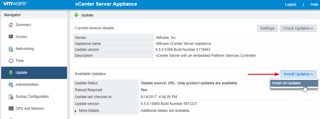 Update VMware VCSA 6.5 to 6.5 Update 1 install updates