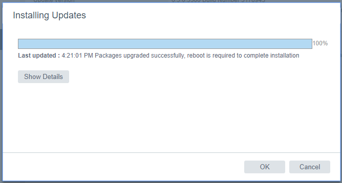 Update VMware VCSA 6.5 to 6.5 u1 update complete