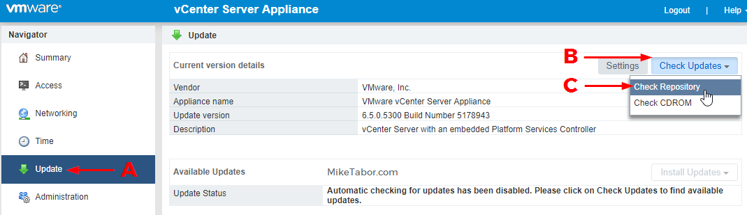 Update VMware VCSA 6.5 to 6.5 u1