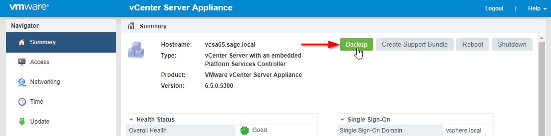 VMware VCSA backup button