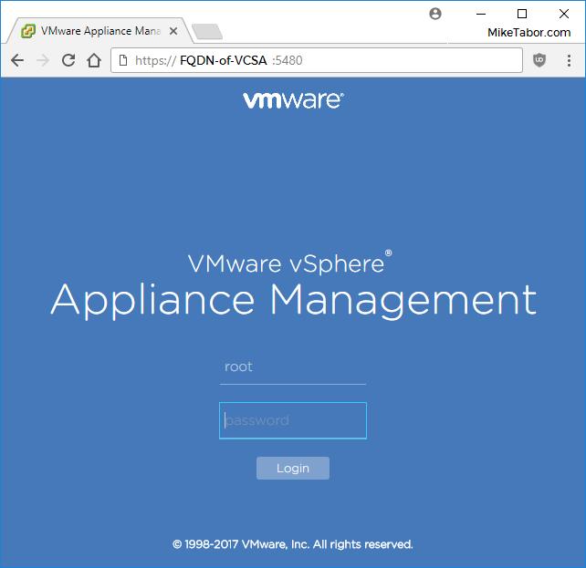 VMware VCSA backup login