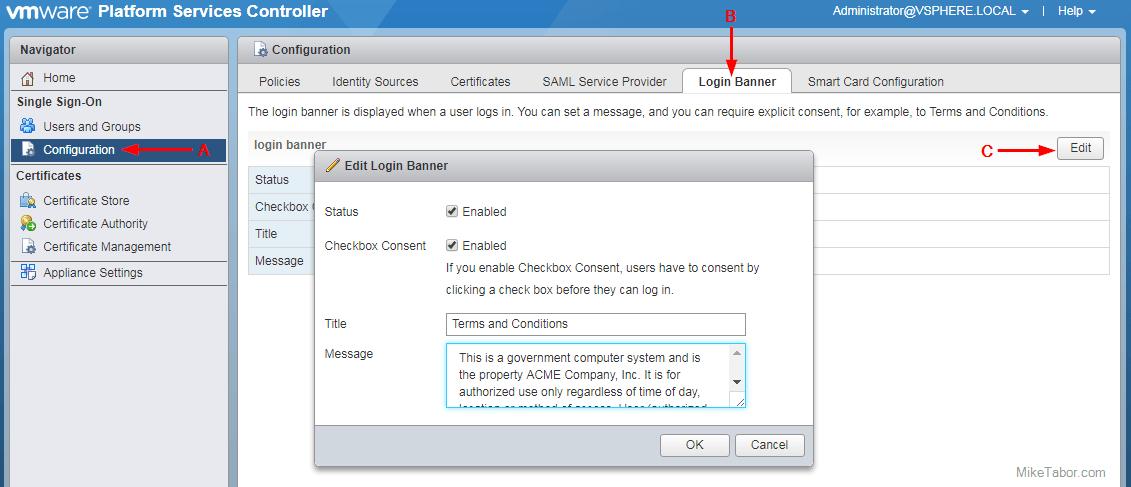 VMware vSphere login banner message